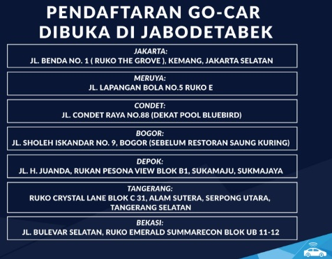 lowongan go car 2017, lowongan go car september 2017, pendaftaran go car 2017, pendaftaran go car september 2017, cara daftar go car