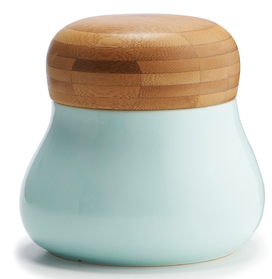 turquoise storage jar with bamboo lid