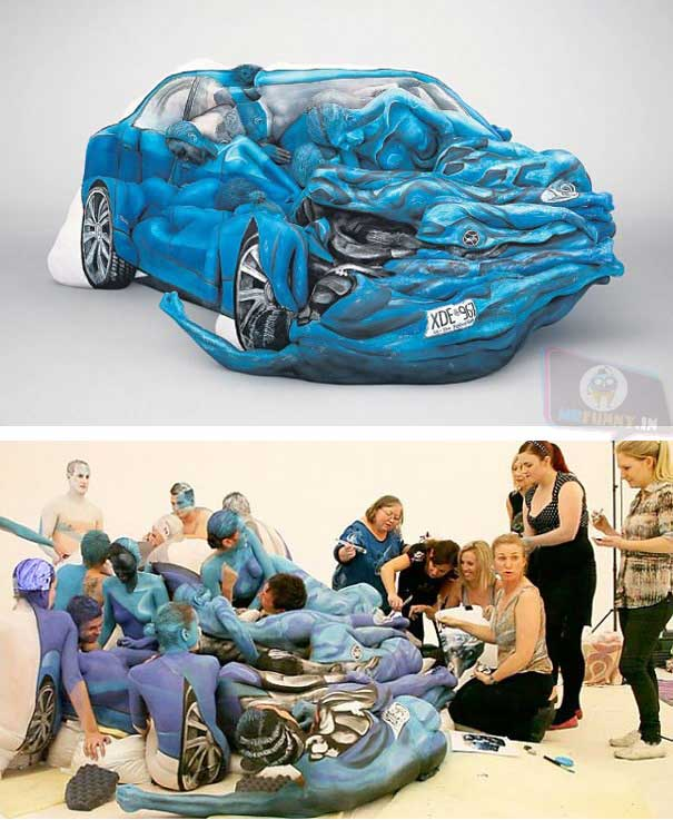 Vehicles made of Body Painted People by Emma Hack