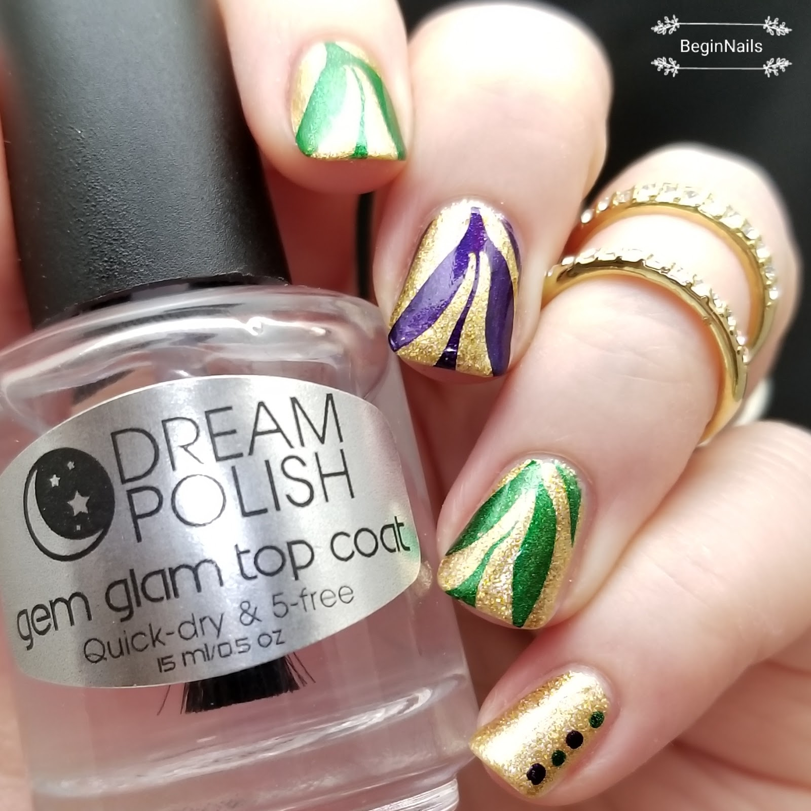 Let\'s Begin Nails: Purple, Gold and Green Nail Art (All About The Stamp)