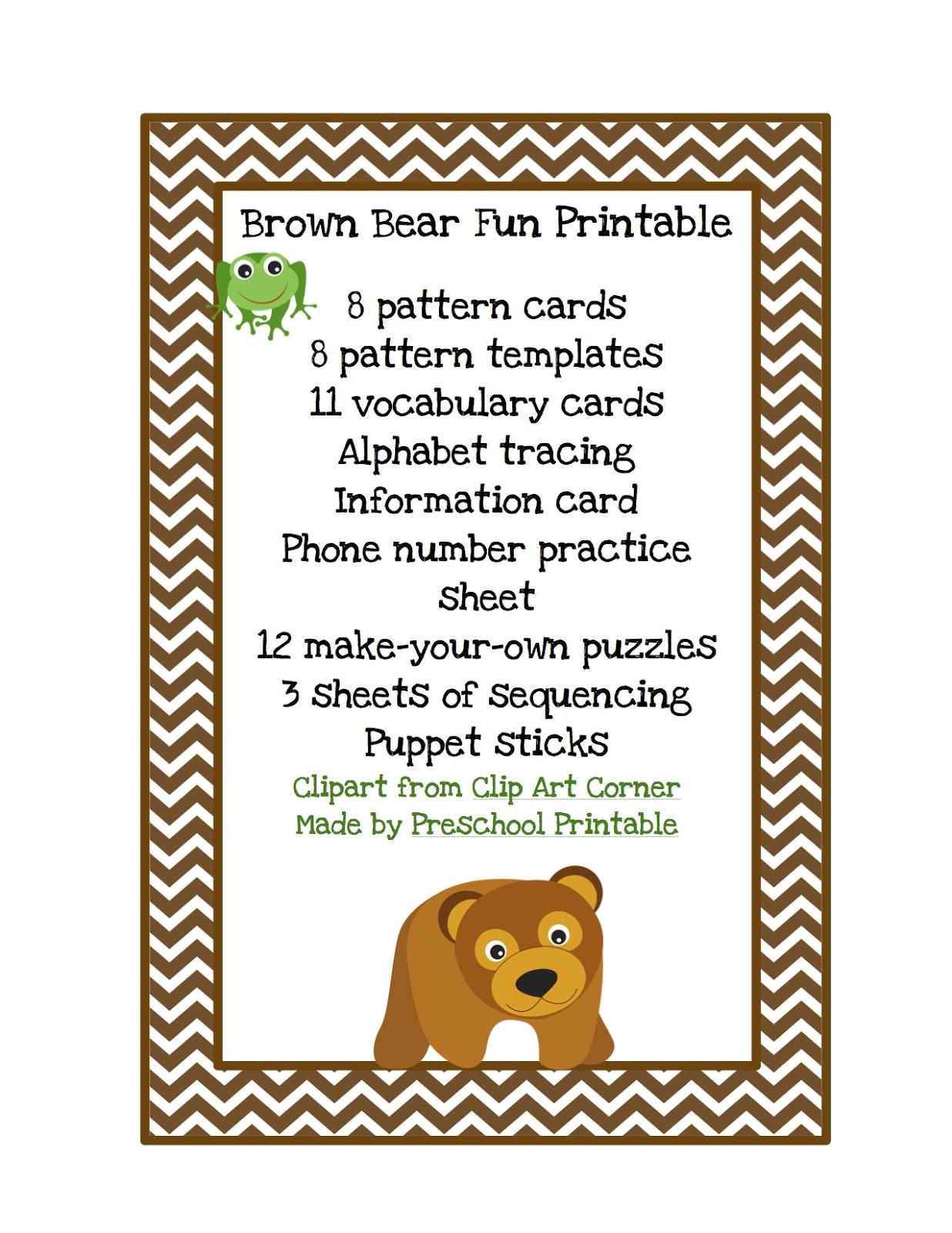 Brown Bear Fun Printable Preschool Printables