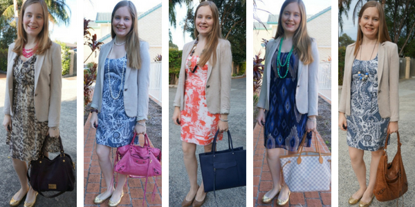 5 ways to wear printed dresses with neutral cream jersey blazer for the office | away from blue