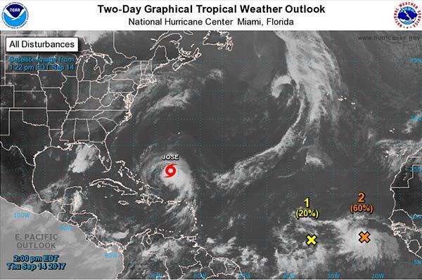 Dos perturbaciones  tropicales en Atlántico