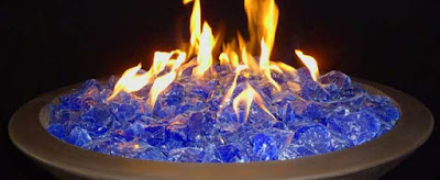 verre concassé bleu