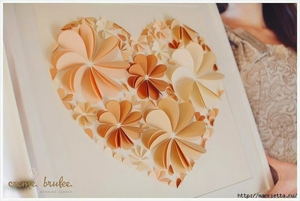 DIY Easy Paper Heart Flower Wall Art - HANDY DIY
