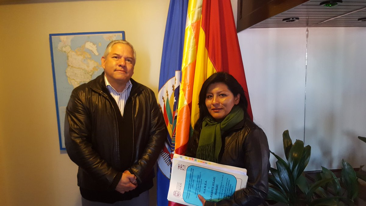 La alcaldesa alteña con el representante de la OEA en Bolivia / TWITTER