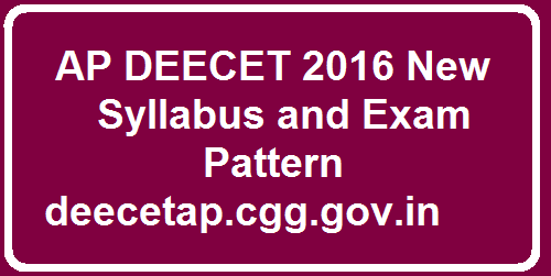 AP DEECET 2016 New Syllabus and Exam Pattern Exam for getting admission into 2 year D.Ed courses in Andhra Pradesh state. Eligibility of Marks allotment for AP Deecet Syllabus / Diet cet 2016 Exam Pattern Notification given in Andhra Pradesh at official website http://deecetap.cgg.gov.in/. Exam will conduct on 15-May-2016. Exam pattern is given below basis of Latest AP Deecet 2016 Exam Pattern. Exam conducts for 100 marks. So candidate prepare the XIII to 10 th of A.P state new syllabus for PAT-I & PART-II sections and remaining section will be based on general knowledge & Teaching Aptitude.