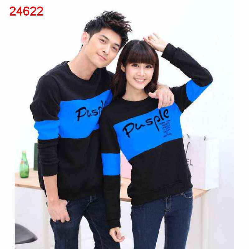 Jual Sweater Couple Sweater Pusple Blink Hitam Biru - 24622