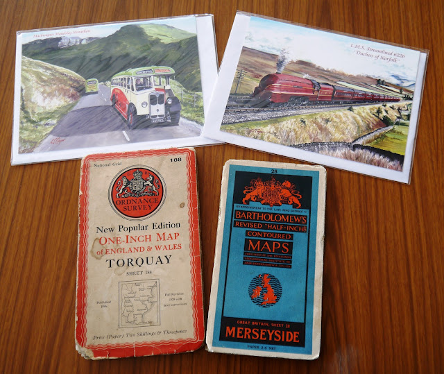 Postcards and vintage maps