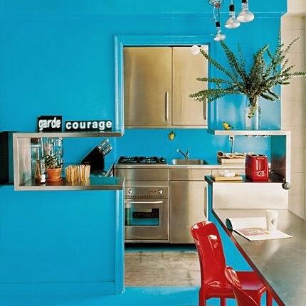 Cocinas de color celeste colores en casa for Cocina pintura pato azul