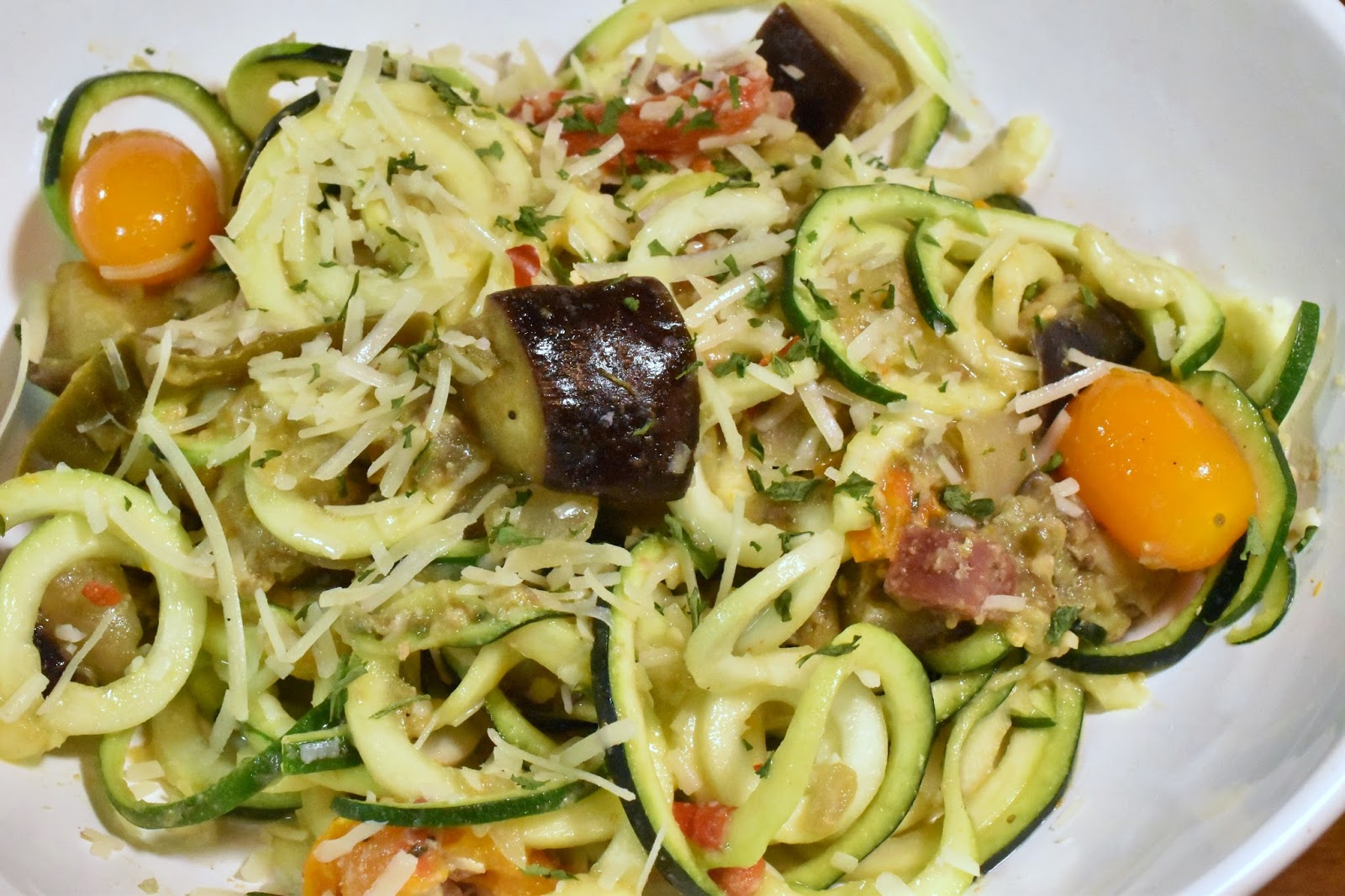Creamy Eggplant and Tomato Zoodles. Photo by Greg Hudson.