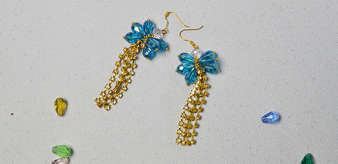 Beader Garden Diy Chain Tassel Earrings With Blue Glass Beads And