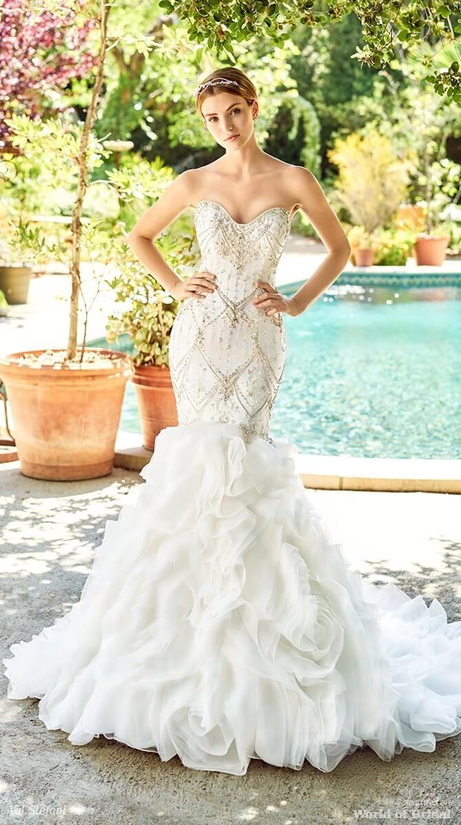Val Stefani Spring 2018 Beaded Mermaid Wedding Dress with Textured Skirt