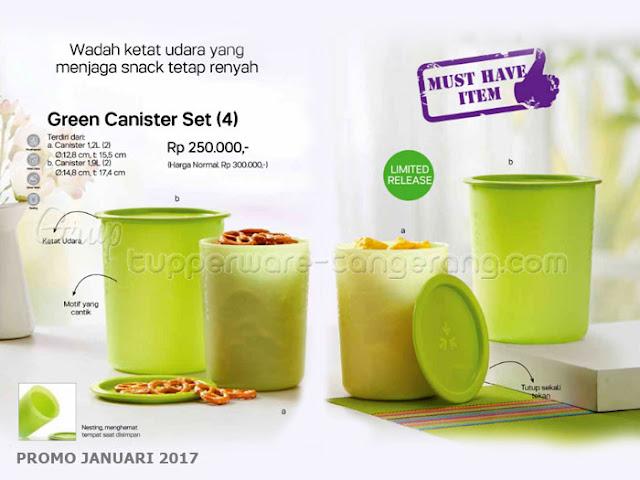Green Canister Set Promo Tupperware Januari 2017