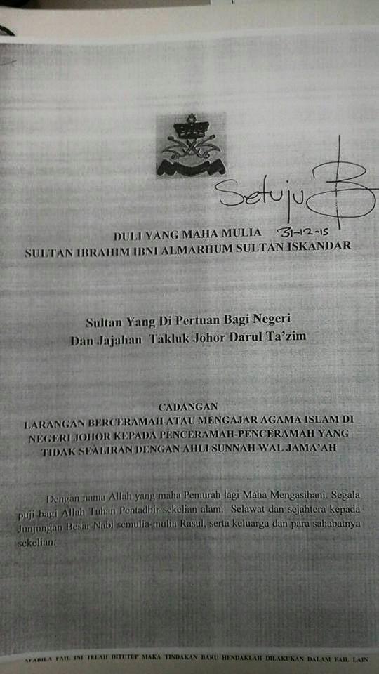 Maklumat Kesultanan Johor Haramkan Wahabi