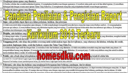 Panduan Penilaian & Pengisian Raport Kurikulum 2013 Terbaru