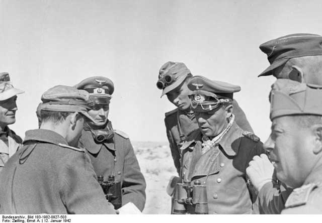 General Rommel meets with his commanders in North Africa on 12 January 1942 worldwartwo.filminspector.com