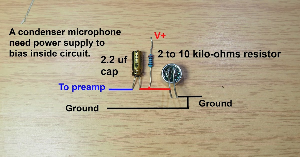 how to make condenser microphone pre-amplifier  easy and work project
