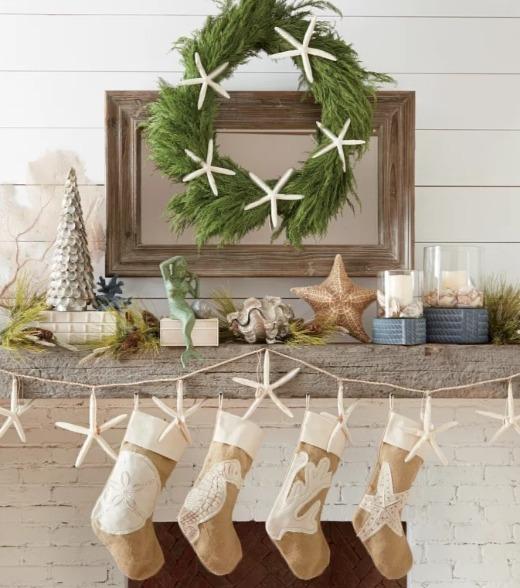Coastal Christmas Mantel with Stockings