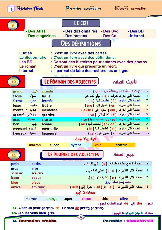 مراجعة قواعد اللغة الفرنسية للصف الأول الثانوي ترم ثاني.. مسيو رمضان وهبة 20