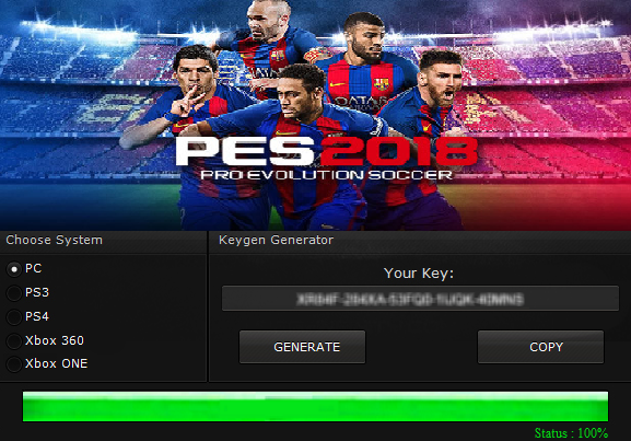 pes 2018 serial key/cd key/keygen/activation code