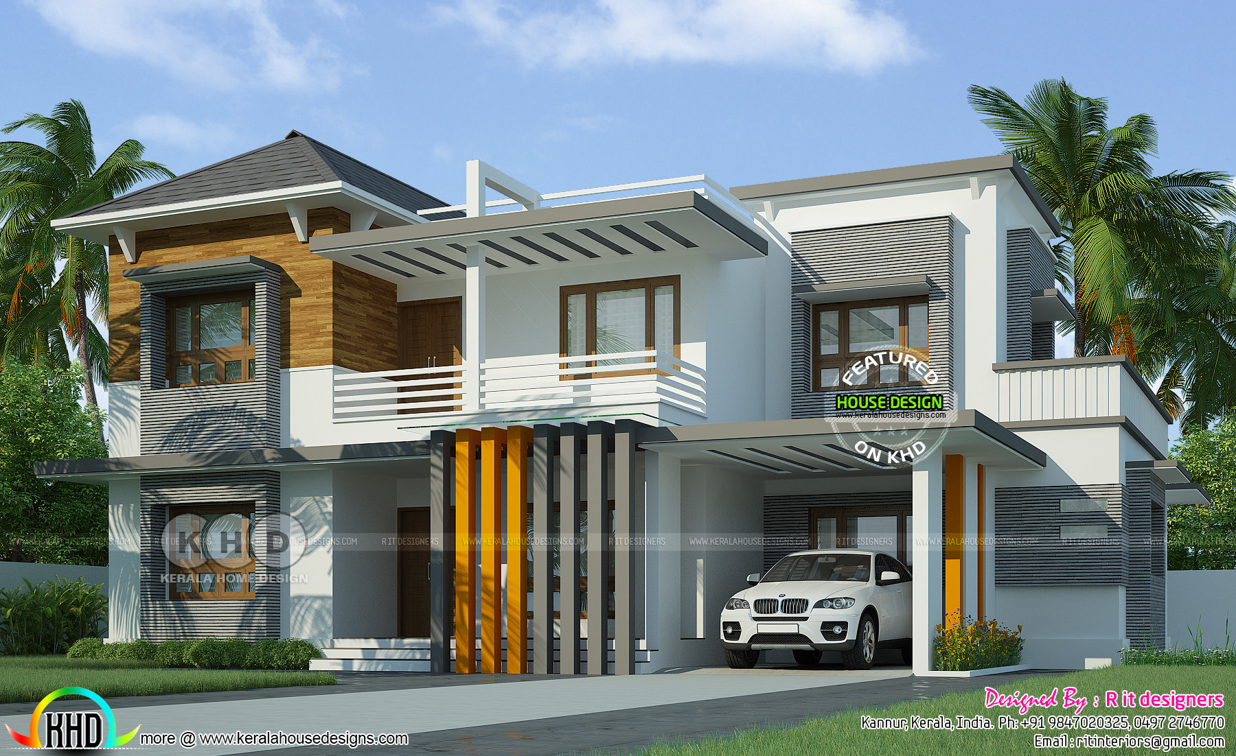 Contemporary 4 bedroom grand house kerala home design for Kerala house plans 4 bedroom