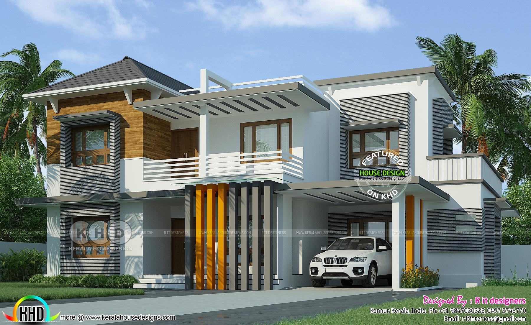 Contemporary 4 bedroom grand house  Kerala home design  Bloglovin