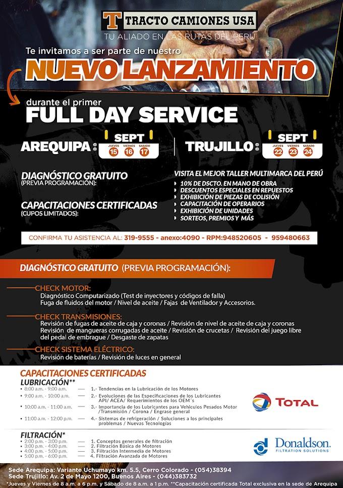 Total y Tracto camiones USA estarán en Arequipa en el Primer Full Day Service - 15, 16 y 17 de set