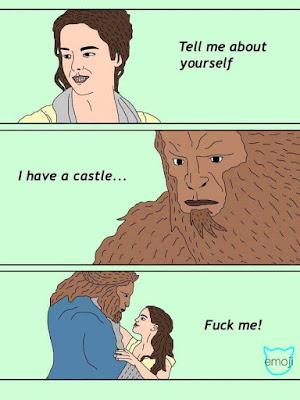 Tell me about yourself, I have a castle, fuck me,  cuéntame sobre tí, tengo un castillo, fóllame