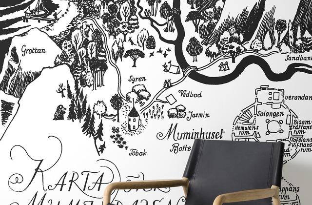 Muumi Tapetti Mustavalkoinen Moominvalley Kartta