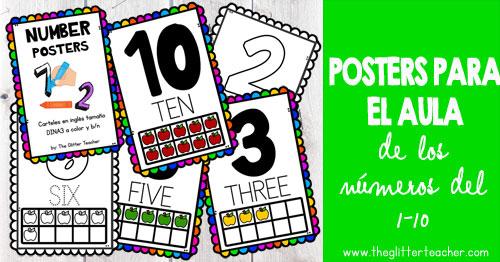 Pósters para el aula de los números del 1-10