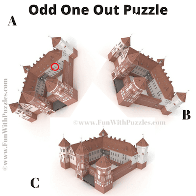 Answer of Spot the Different Castle Picture Riddle