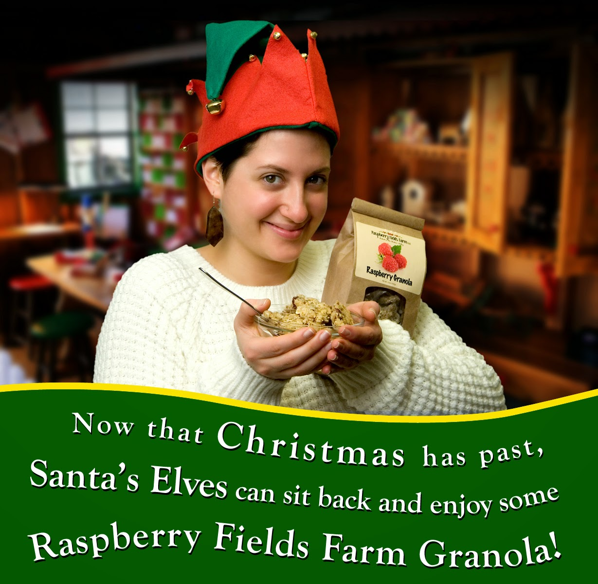 Santa's Elves Enjoy Raspberry Fields Farm Granola