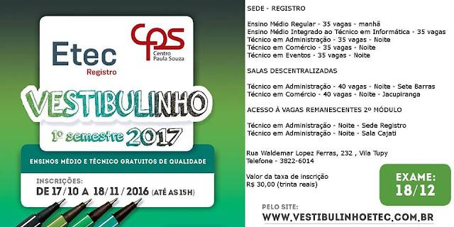 Abertas as inscrições para o Vestibulinho 1º semestre 2017  (totalmente gratuito) da ETEC DE REGISTRO-SP
