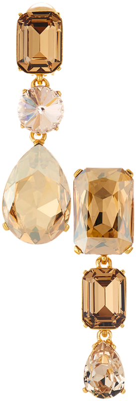 Oscar de la Renta Bold Crystal 3-Drop Clip-On Earrings