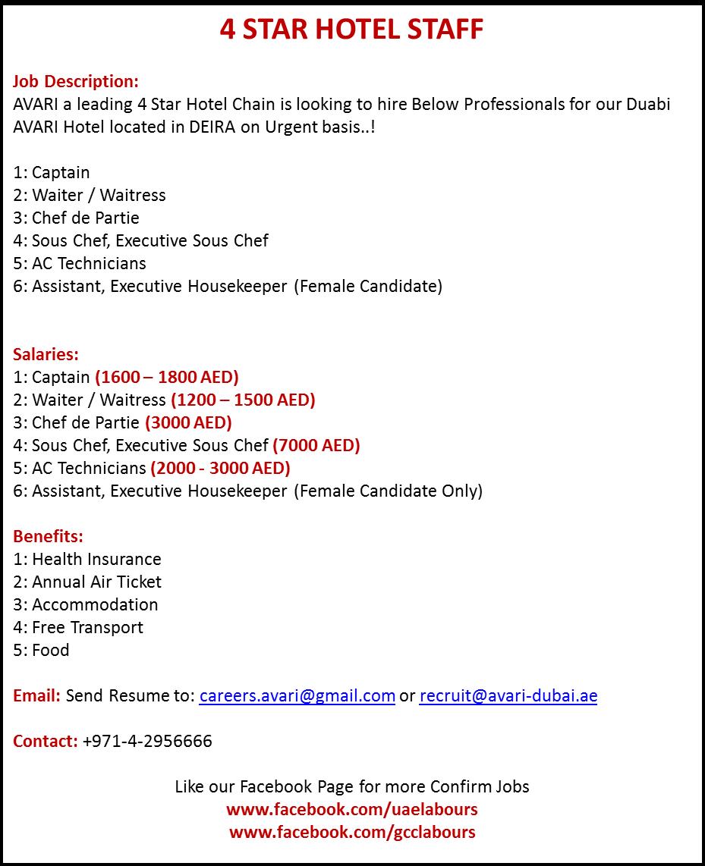 Hotel Staff Jobs Dubai Waiter Waitress Cdp