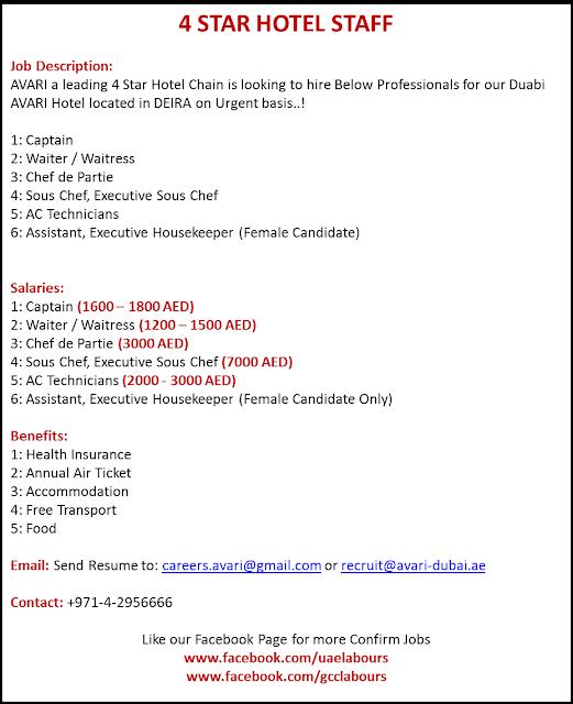 Hotel Staff Jobs, Dubai Hotel jobs, Waiter, Waitress jobs, CDP Jobs, Chef jobs, 4 Star hotel jobs in Dubai, 5 Star hotel Jobs in Dubai, AC Technicians Jobs in UAE, UAE Hotel jobs, Housekeeper jobs in UAE