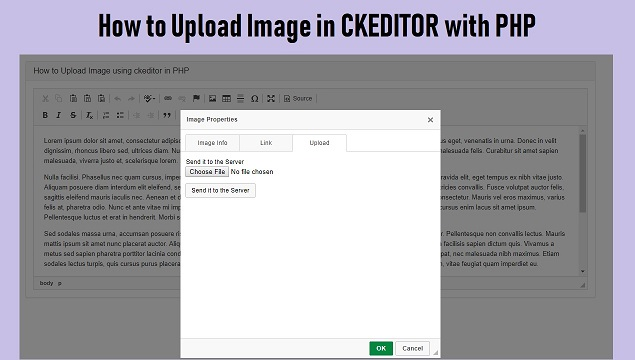 Uploading Image in CKEDITOR with PHP | Webslesson