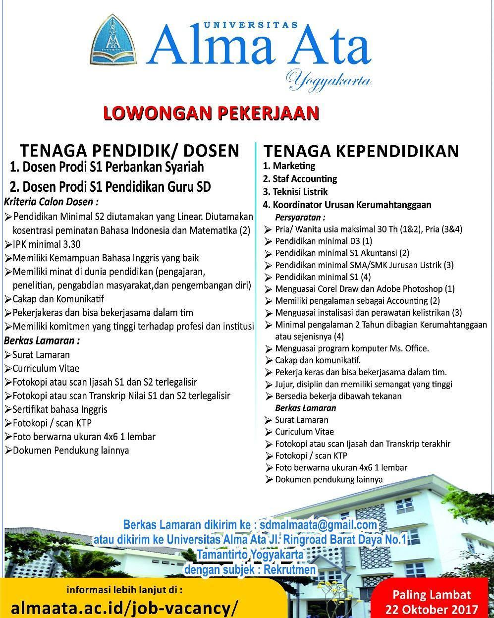 Lowongan Dosen Perbankan dan PGSD Universitas Alma Ata Yogyakarta