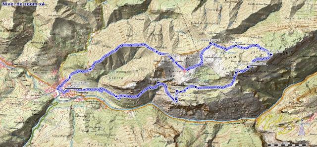 Mapa de la ruta por la Sierra de Juan Robre