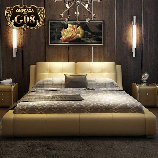 Giường cưới đẹp da phong cách châu Âu hiện đại