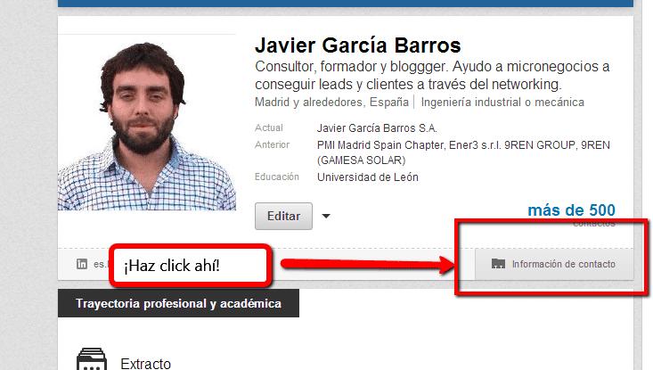Ejemplo de informacion perfil de linkedIm