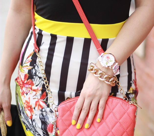 Floral and Striped Dress