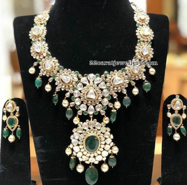 Flat Diamond Emerald Drops set by Sri Mahalaxmi Jewellers