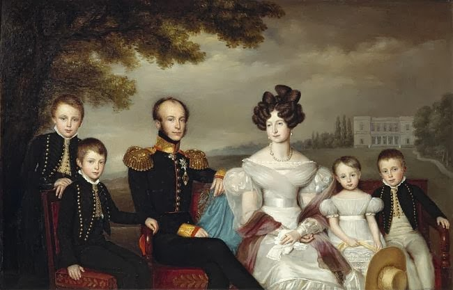 L to r, William (future William III) , Alexander, Willem II, Anna Pavlovna, Sophie and Hendrik by Jean-Baptiste Van der Hulst, 1832