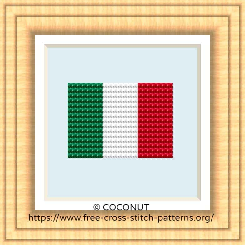 NATIONAL FLAG OF ITALY CROSS STITCH CHART
