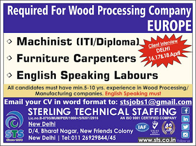 Required for Wood Processing company in Europe text image
