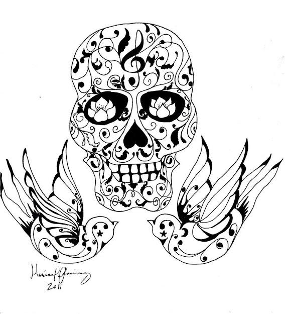 Tattoo Coloring Pages  Coloringpagesskullskulltattootattoo  Sugar  Skull Designskull