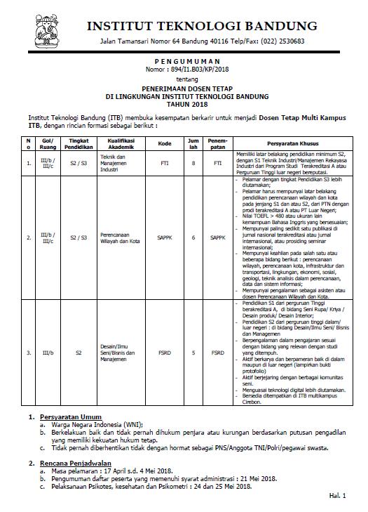 Lowongan Dosen Perencanaan Wilayah Institut Teknologi Bandung (ITB)