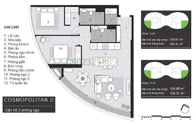 Tháp Pormenade căn hộ City Garden - 2 Phòng ngủ D